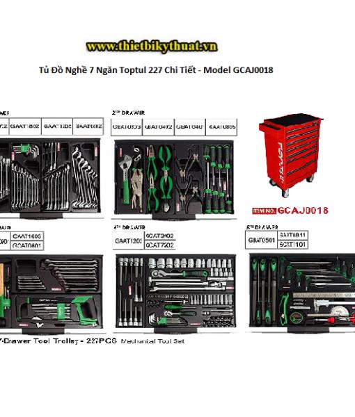 Tủ Đồ Nghề 7 Ngăn Toptul 227 Chi Tiết - Model GCAJ0018
