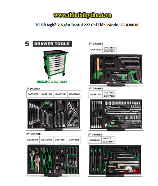 Tủ Đồ Nghề 7 Ngăn Toptul 227 Chi Tiết- Model GCAJ0038