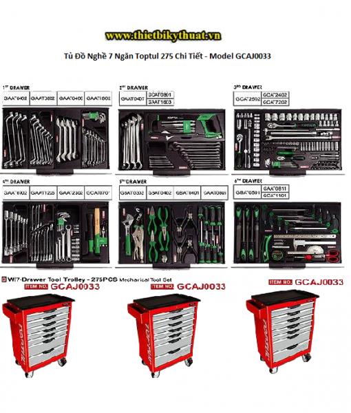 Tủ Đồ Nghề 7 Ngăn Toptul 275 Chi Tiết - Model GCAJ0033