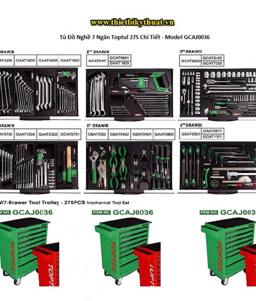 Tủ Đồ Nghề 7 Ngăn Toptul 275 Chi Tiết - Model GCAJ0036