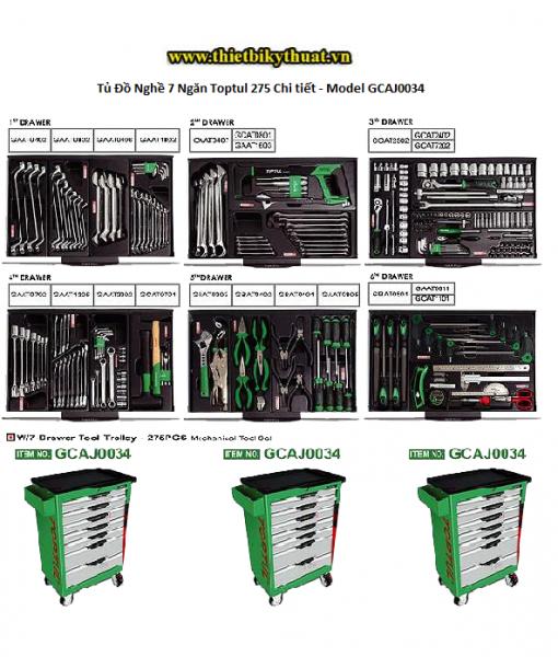 Tủ Đồ Nghề 7 Ngăn Toptul 275 Chi tiết - Model GCAJ0034