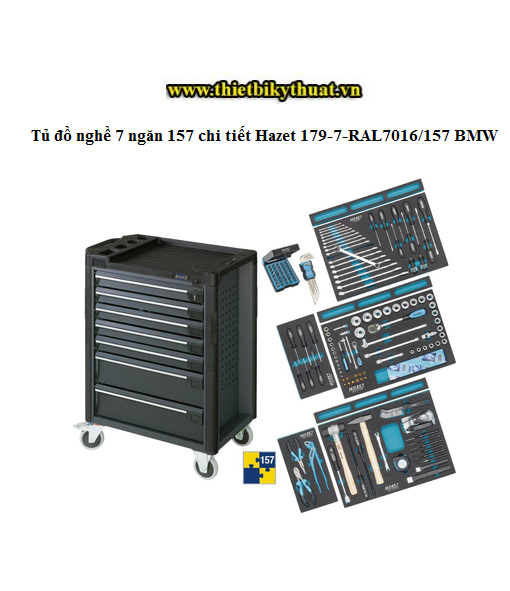 Tủ đồ nghề 7 ngăn 157 chi tiết Hazet 179-7-RAL7016/157 BMW